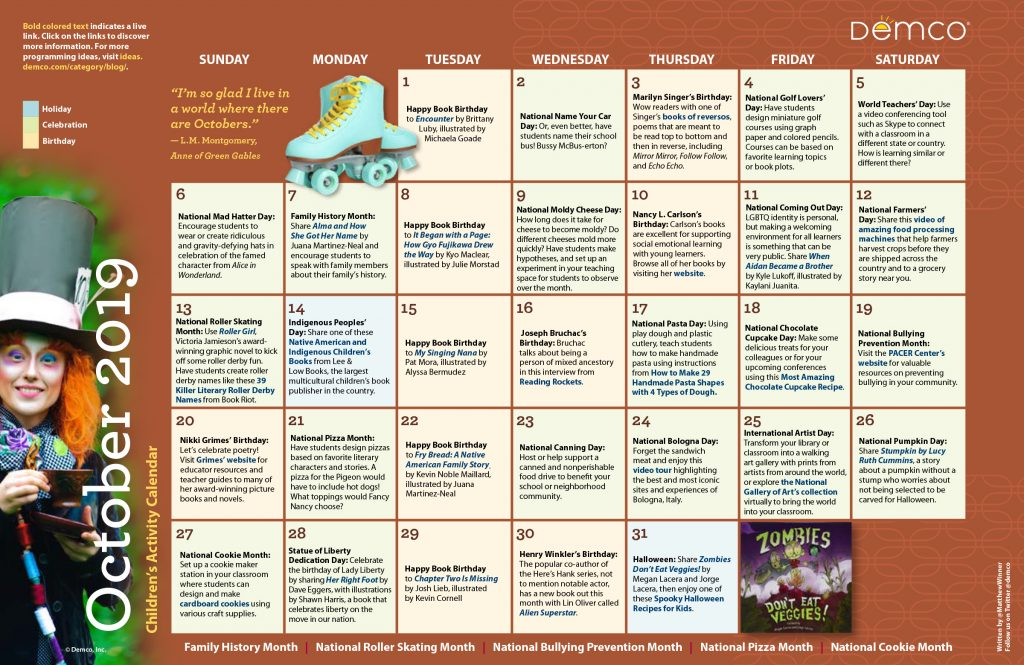 Children's Activity Calendar: October 2019