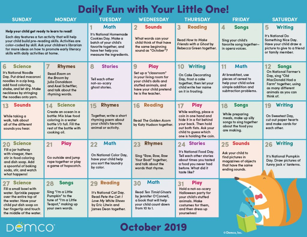Early Literacy Calendar October 2019