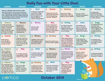 Early Literacy Activity Calendar: October 2019