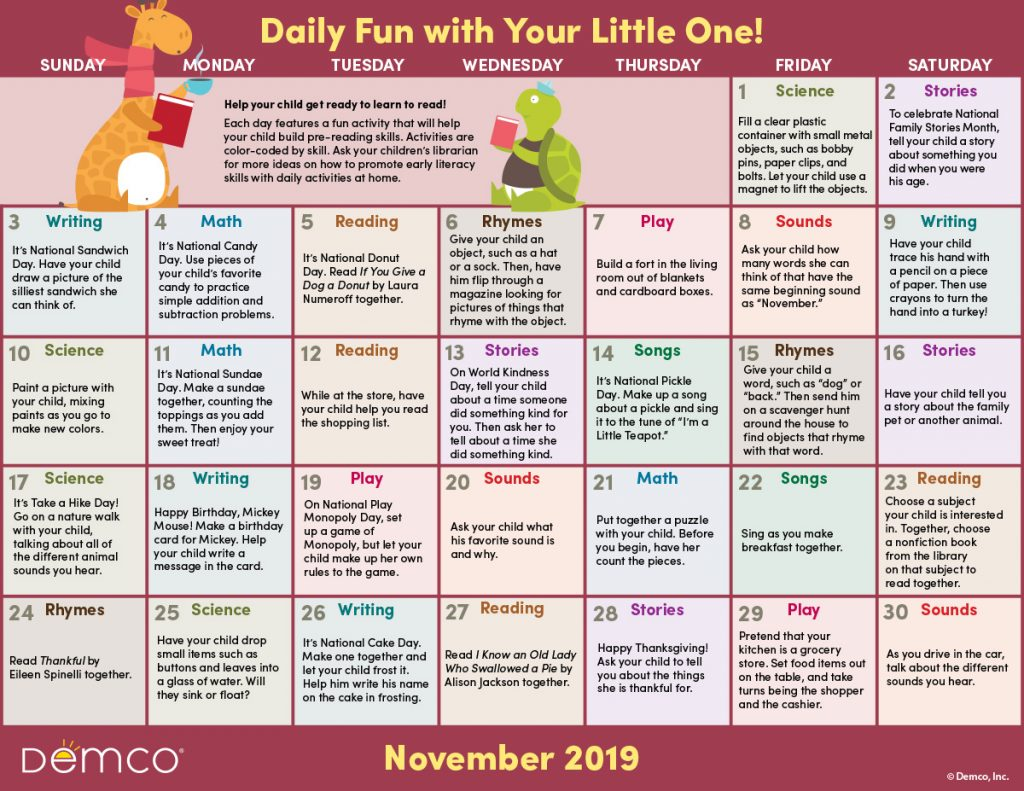 Early Literacy Activity Calendar: November 2019
