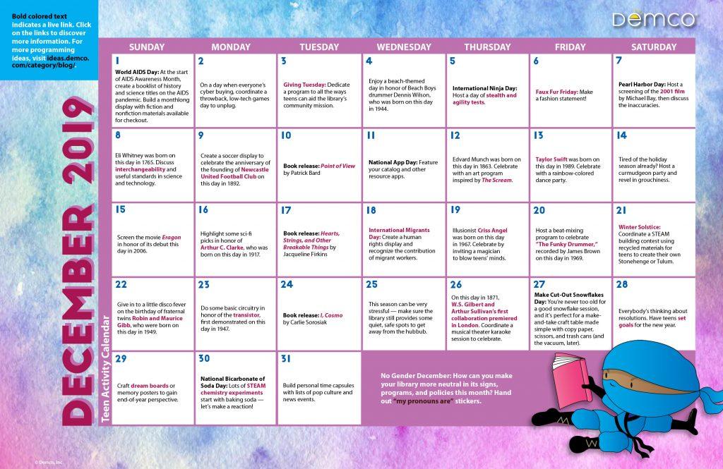 Teen Activity Calendar: December 2019