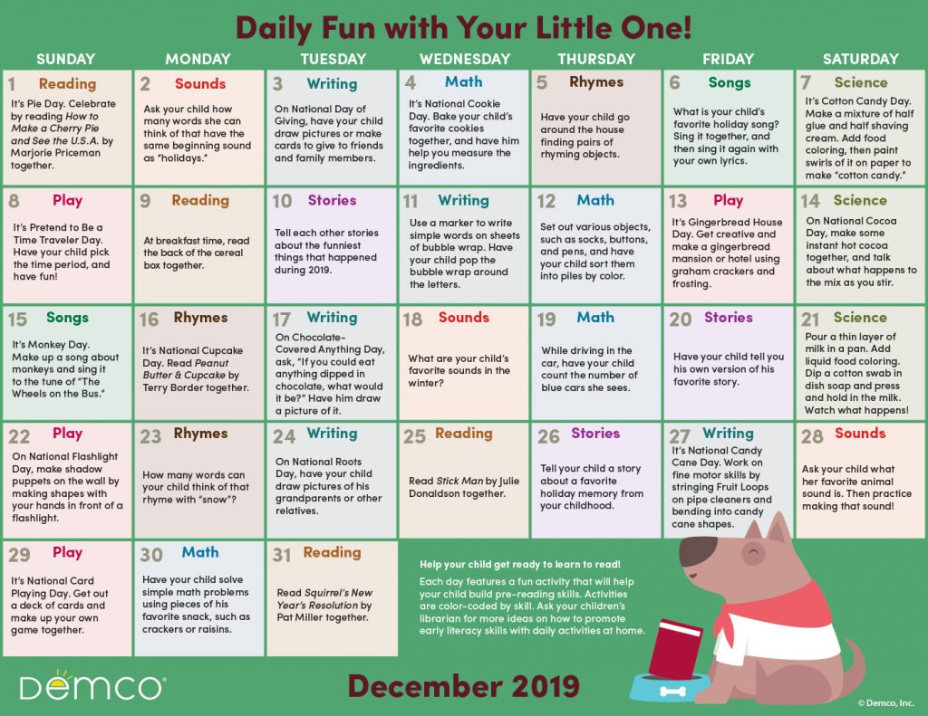 Early Literacy Activity Calendar: December 2019