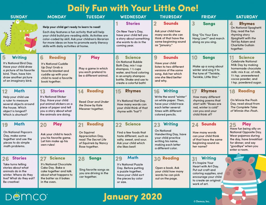 Early Literacy Activity Calendar: January 2020