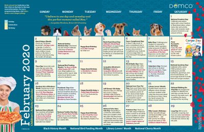 Children's Activity Calendar: February 2020
