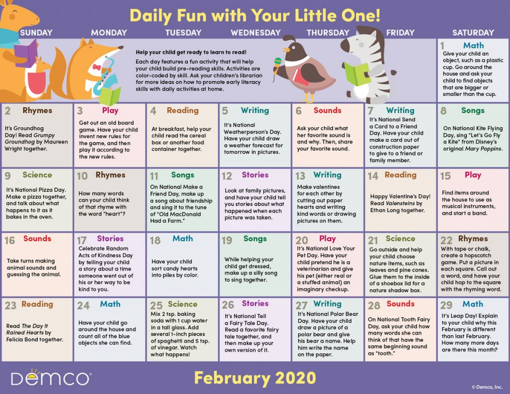Early Literacy Activity Calendar: February 2020