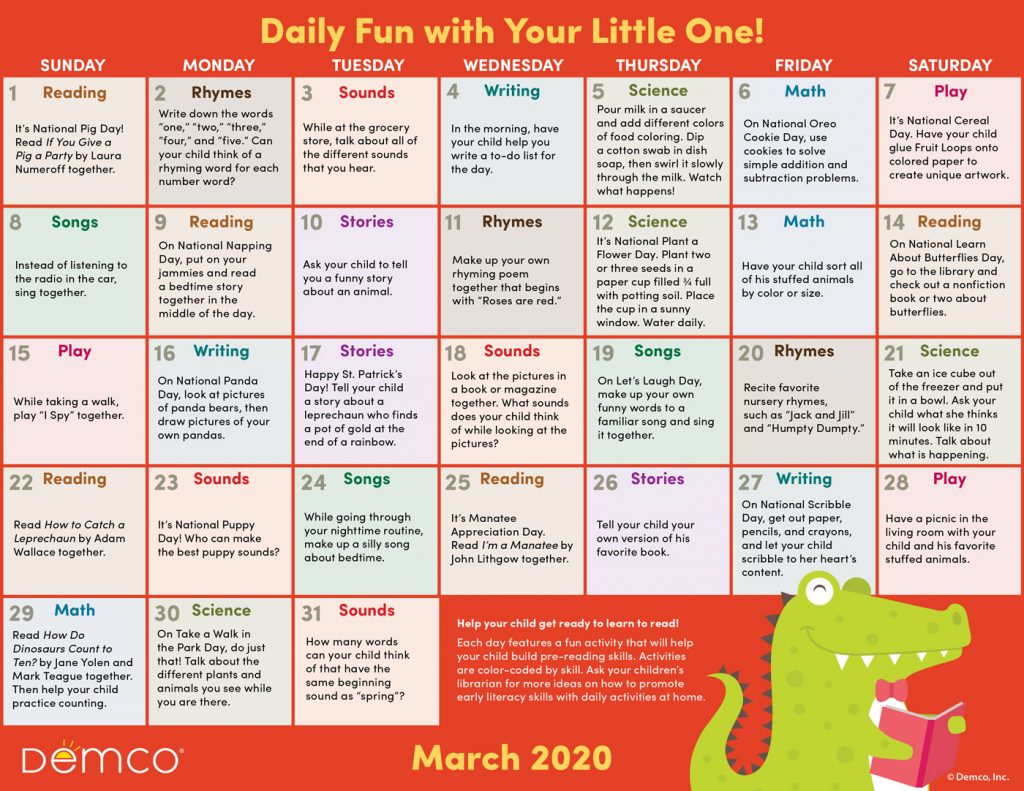 Early Literacy Activities Calendar: March 2020