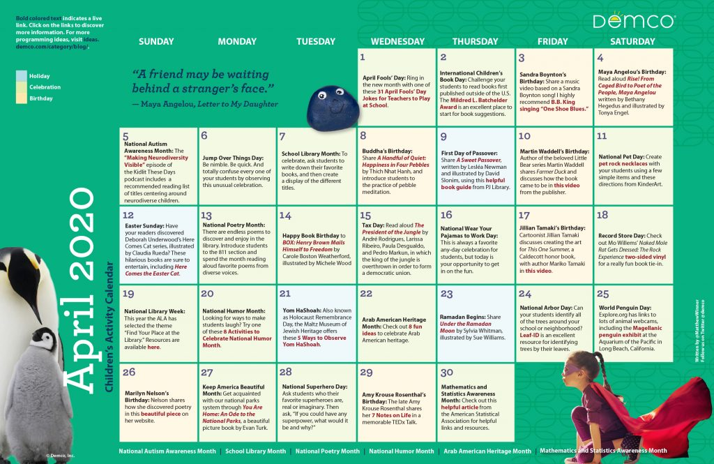 Children's Activity Calendar: April 2020