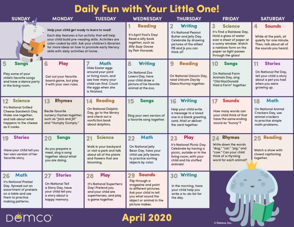 Early Literacy Activity Calendar: April 2020