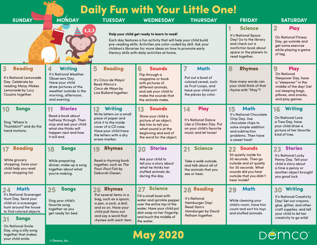 Early Literacy Activities Calendar: May 2020