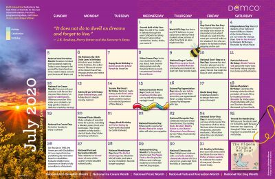 Children's Activity Calendar: July 2020