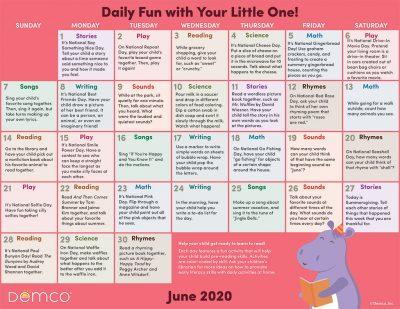 Early Literacy Activity Calendar: June 2020