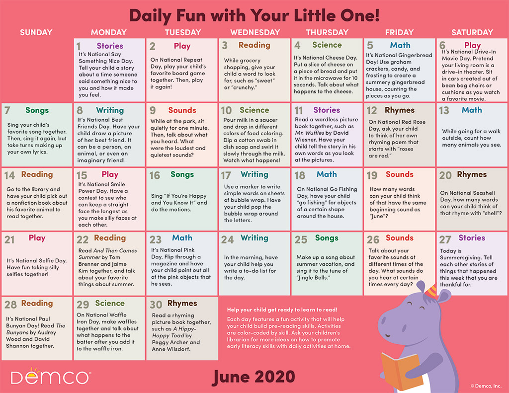 Early Literacy Activity Calendar: June 2020