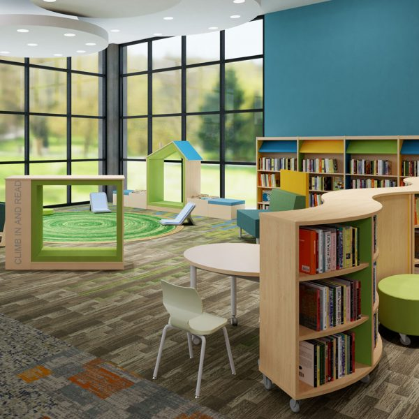 Attractive single-use spaces within the children's library keep children separate.