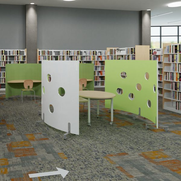 Freestanding barriers create individual workstations.