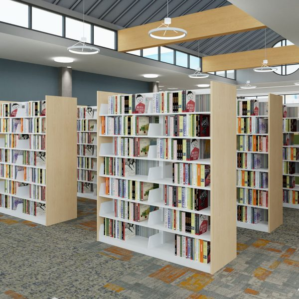 Creating aisles between stacks allows patrons to more easily move apart from each other.