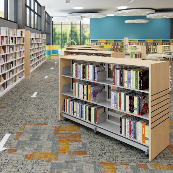 Mobile stacks can be moved to provide barriers and create one-way aisles.