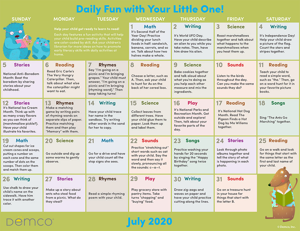 Early Literacy Activity Calendar: July 2020