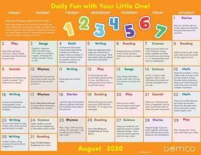 Early Literacy Activity Calendar: August 2020