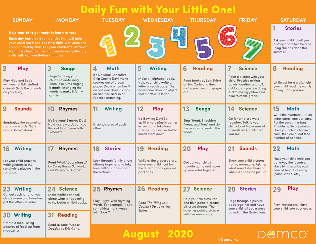Early Literacy Activity Calendar: August 2020