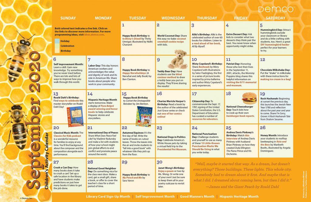 Children's Activity Calendar: September 2020