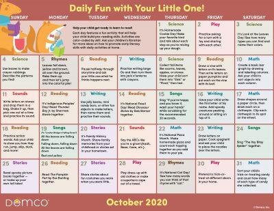 Early Literacy Activity Calendar: October 2020