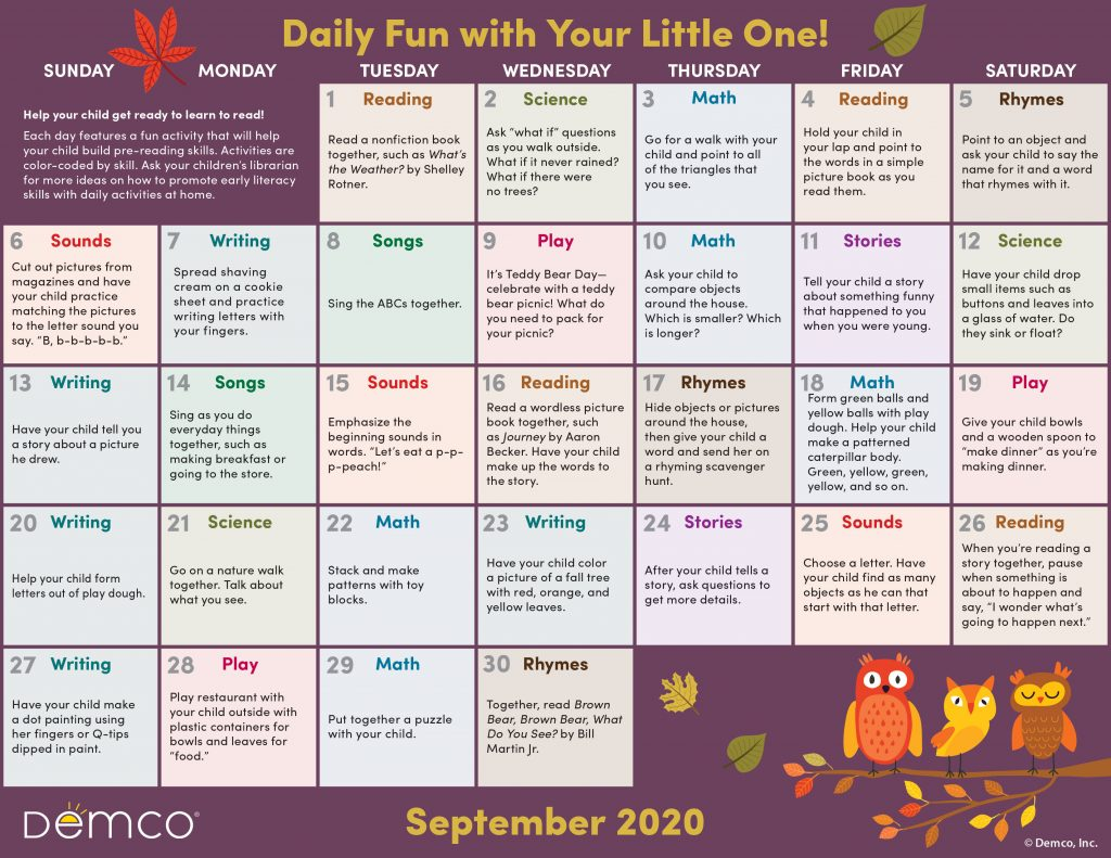 Early Literacy Activity Calendar: September 2020