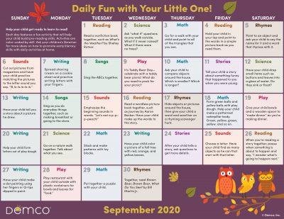 Early Literacy Activity Calendar: September 2020