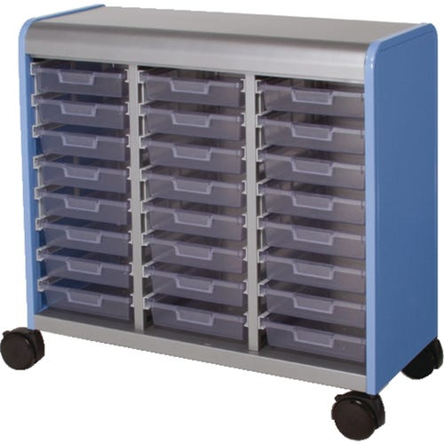 Storage cabinets keep student supplies separated.