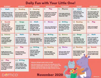 Early Literacy Activity Calendar: November 2020