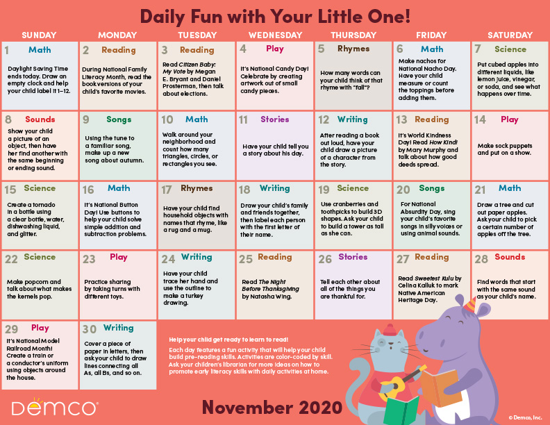 Early Literacy Activity Calendar: November 2020