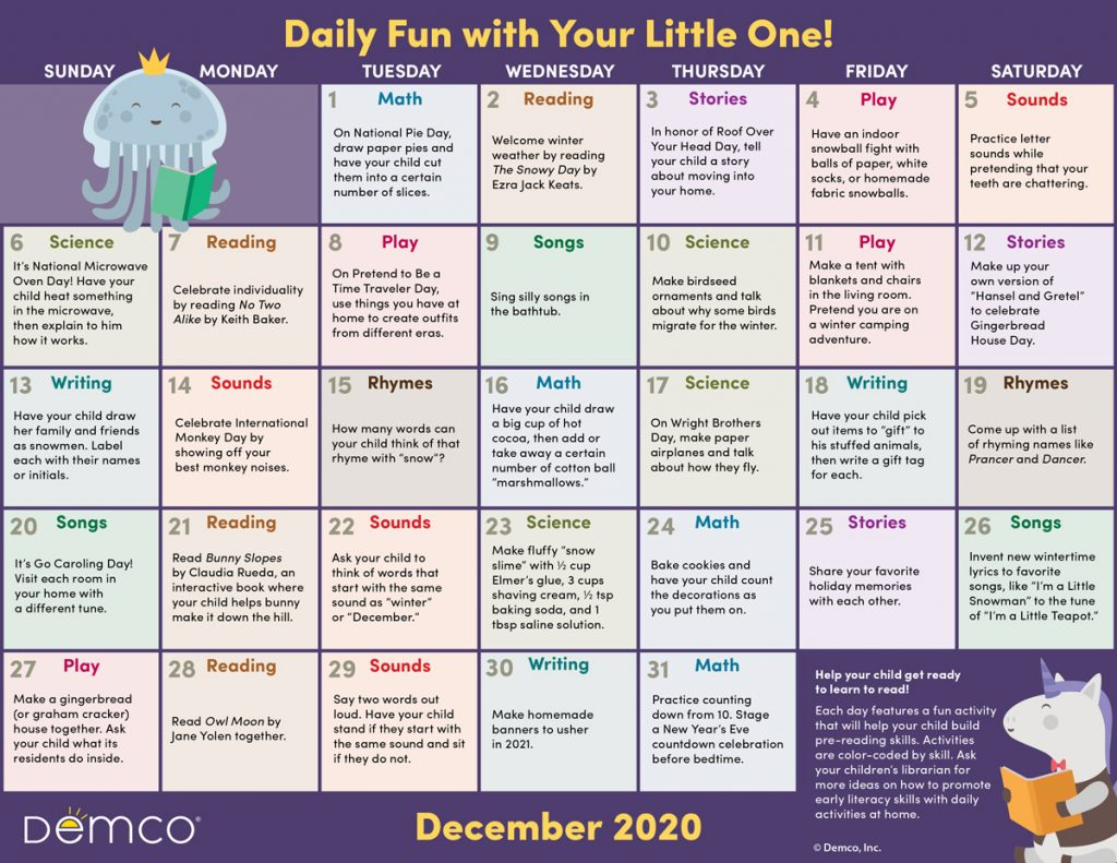 Early Literacy Activity Calendar: December 2020
