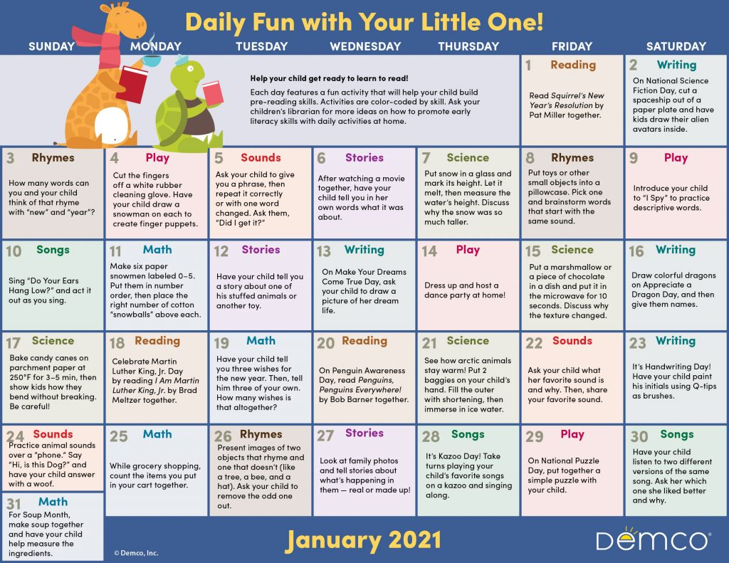 Early Literacy Activity Calendar: January 2021