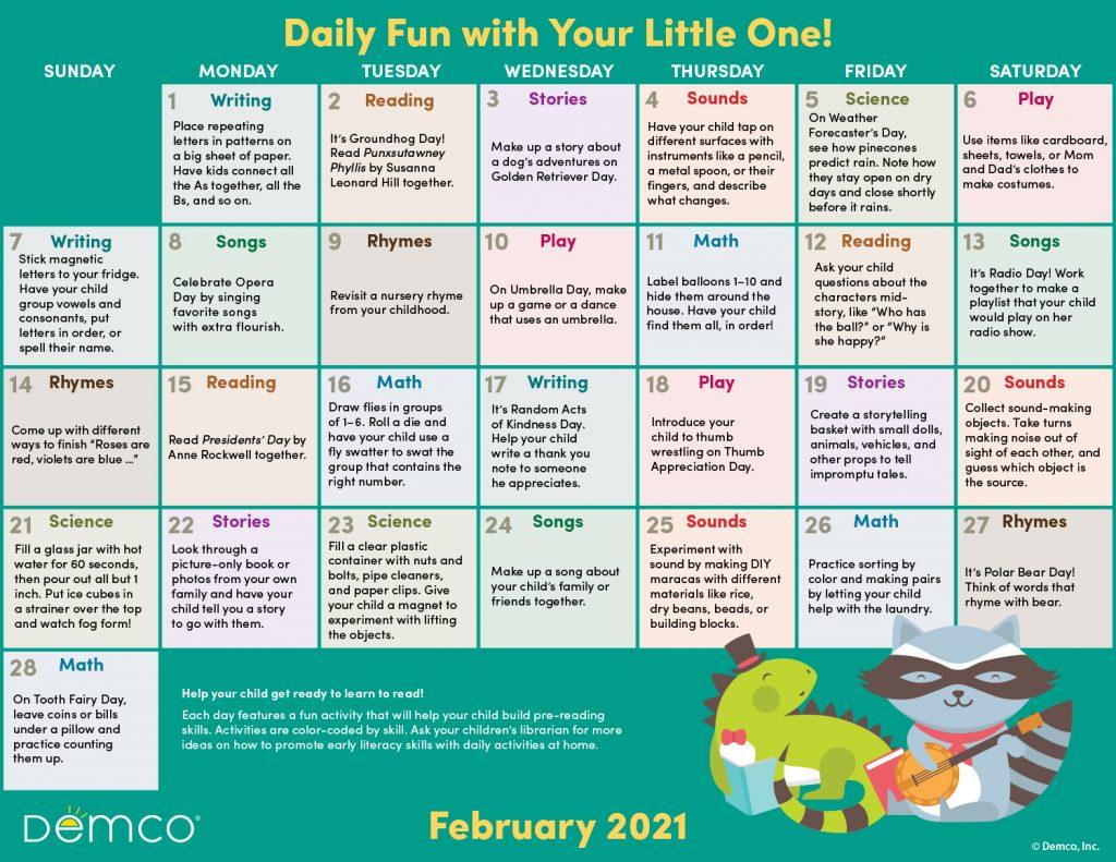 Early Literacy Activity Calendar: February 2021