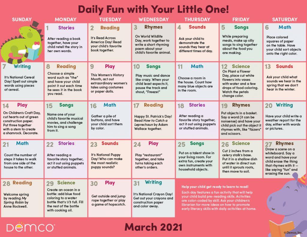 Early Literacy Activity Calendar: March 2021