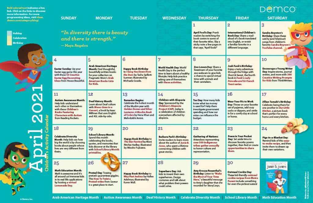 Children's Activity Calendar: April 2021