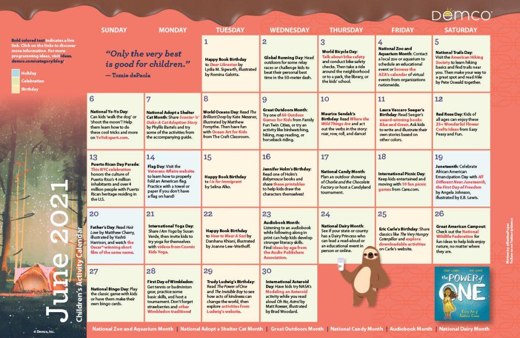 Children's Activity Calendar: June 2021