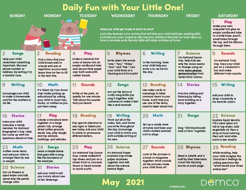 Early Literacy Activity Calendar: May 2021