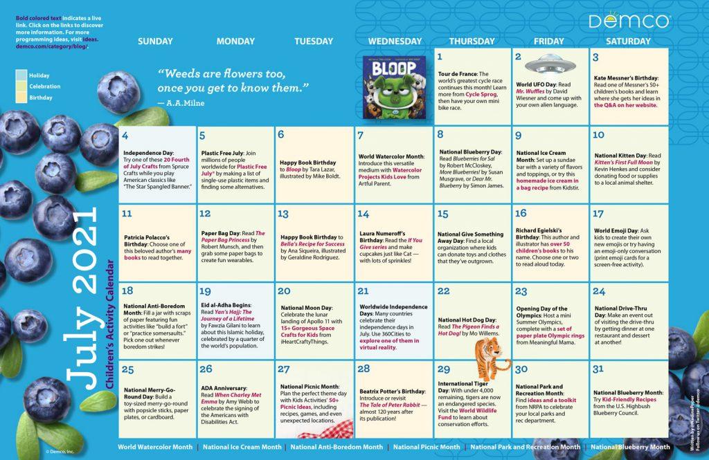 Children's Activity Calendar: July 2021