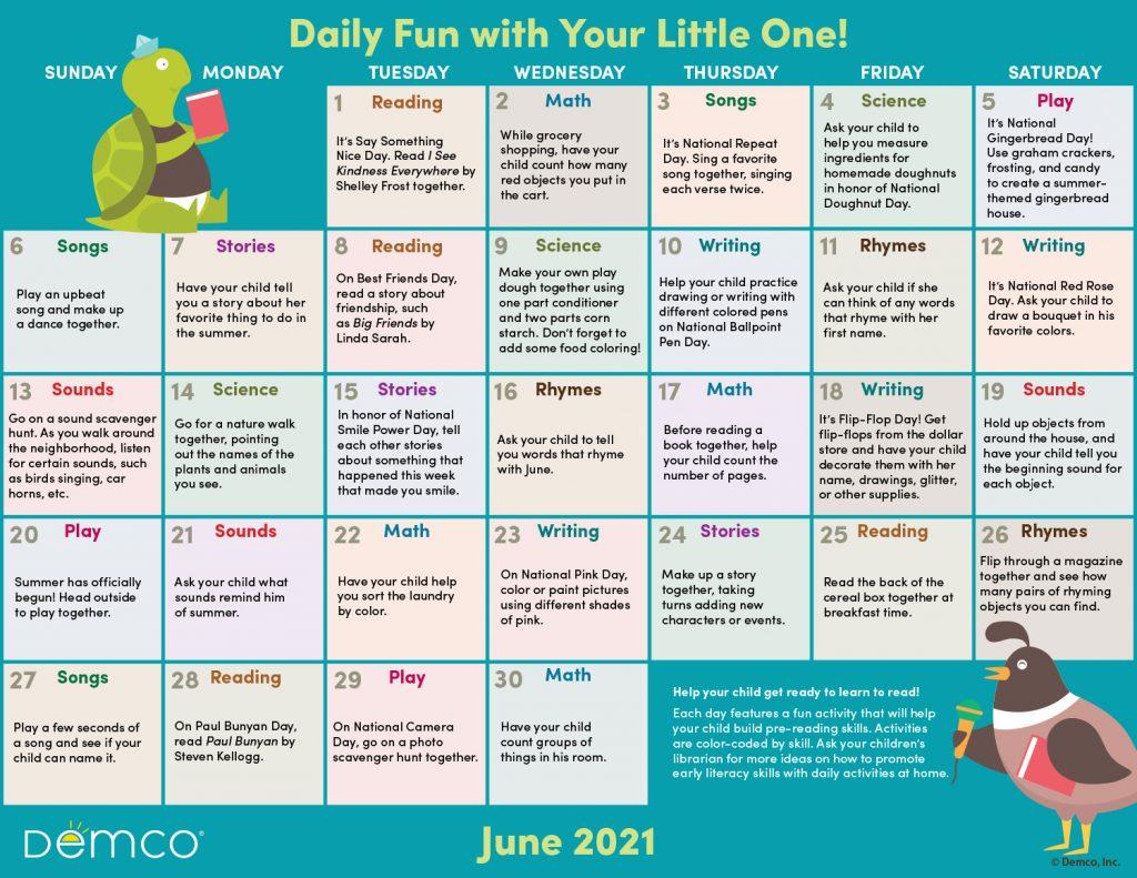 Early Literacy Activity Calendar: June 2021