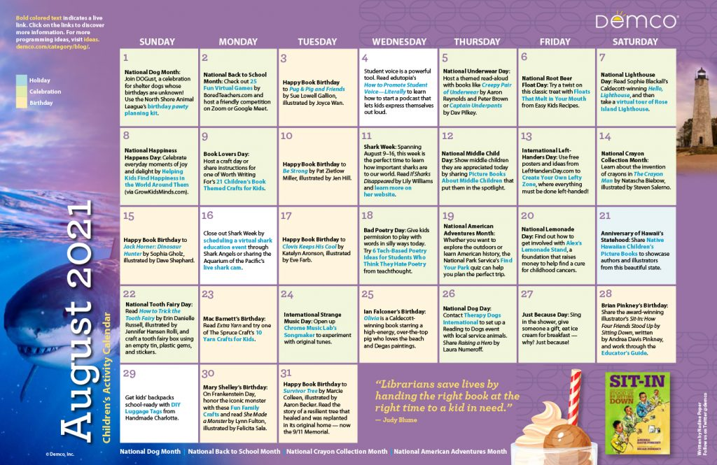 Children's Activity Calendar: August 2021