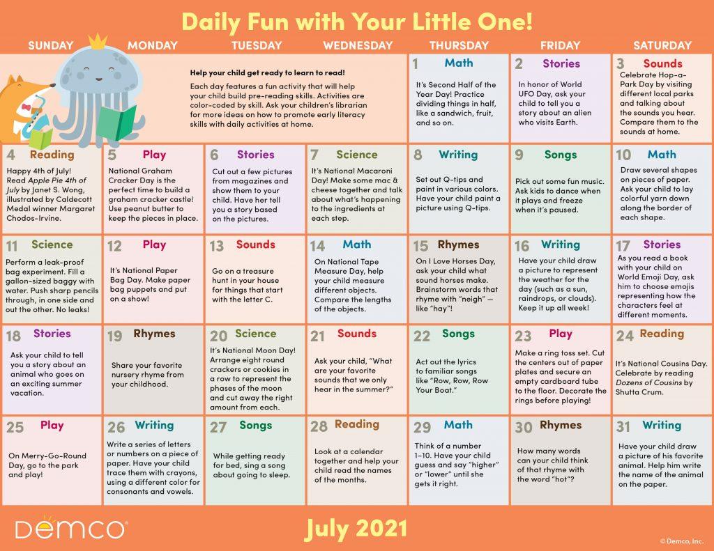 Early Literacy Activity Calendar: July 2021