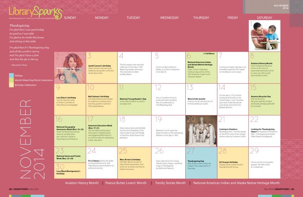 Children's Activity Calendar: November 2014