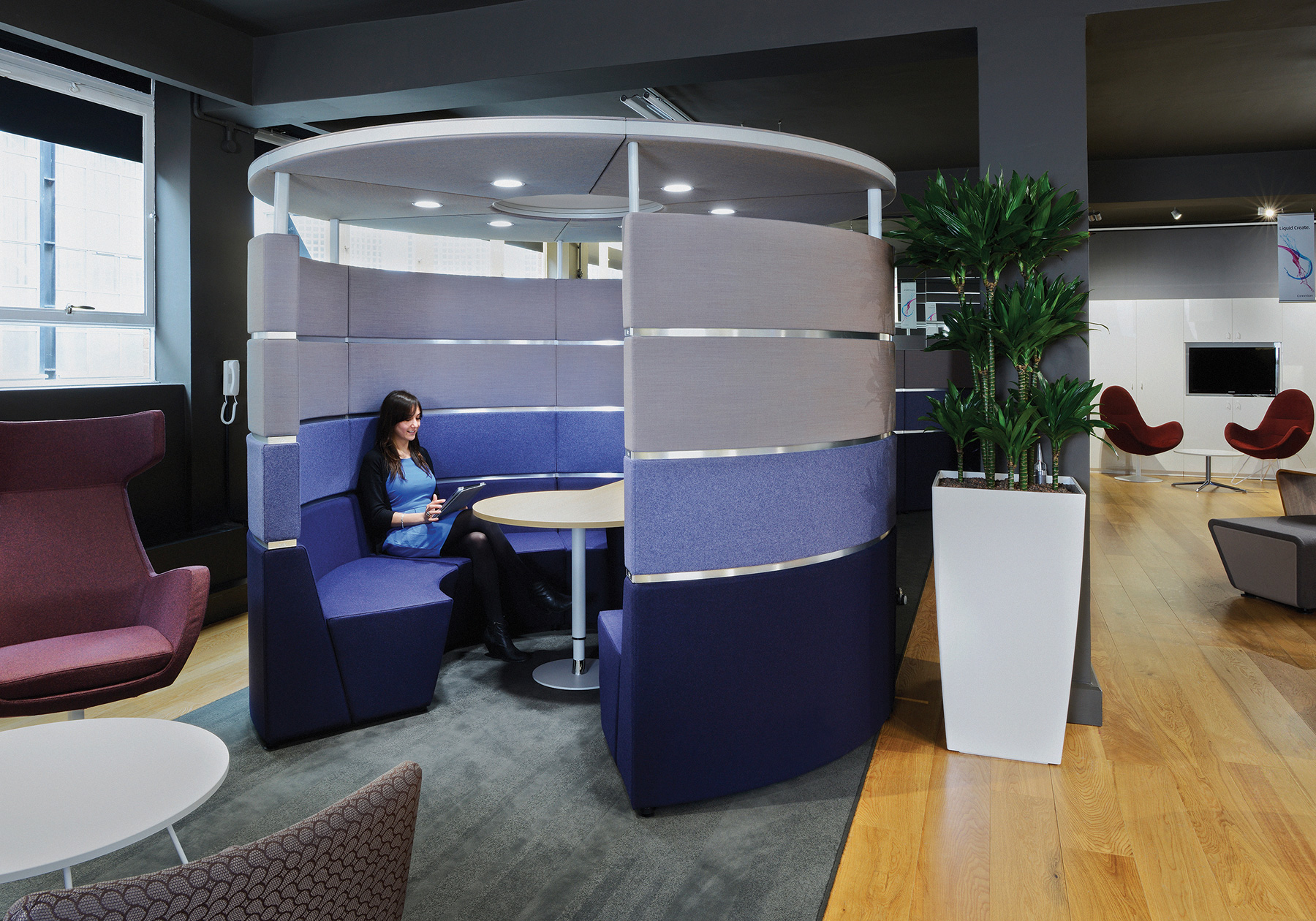 Palmer hamilton hive configured with acoustic canopy and lighting as a small meeting room within a room