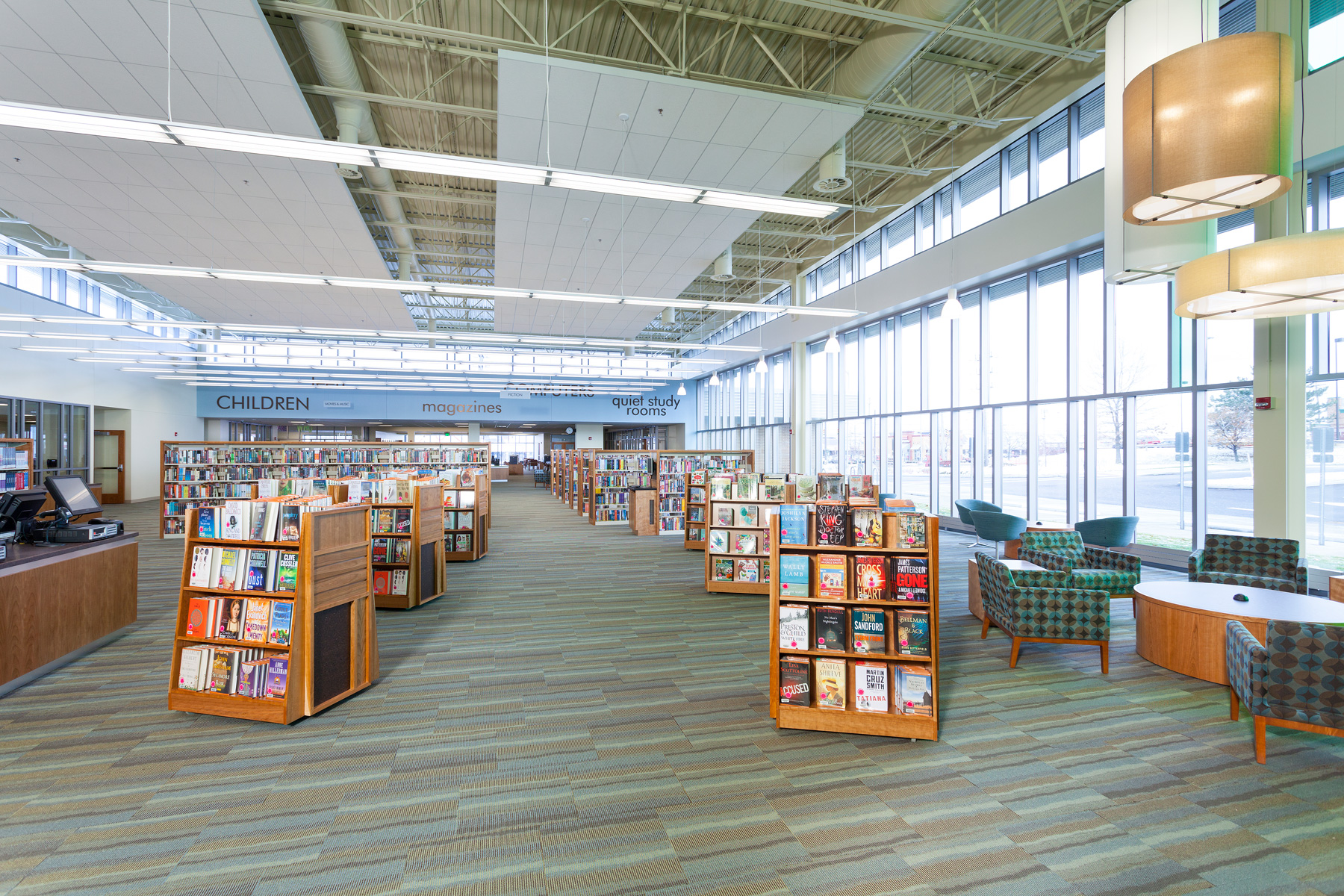 Library Design Ideas Part - 33: Mobile Display At Entry, Parma Snow Library, HBM Architects, Photo Credit:  Eric Hanson Photographer
