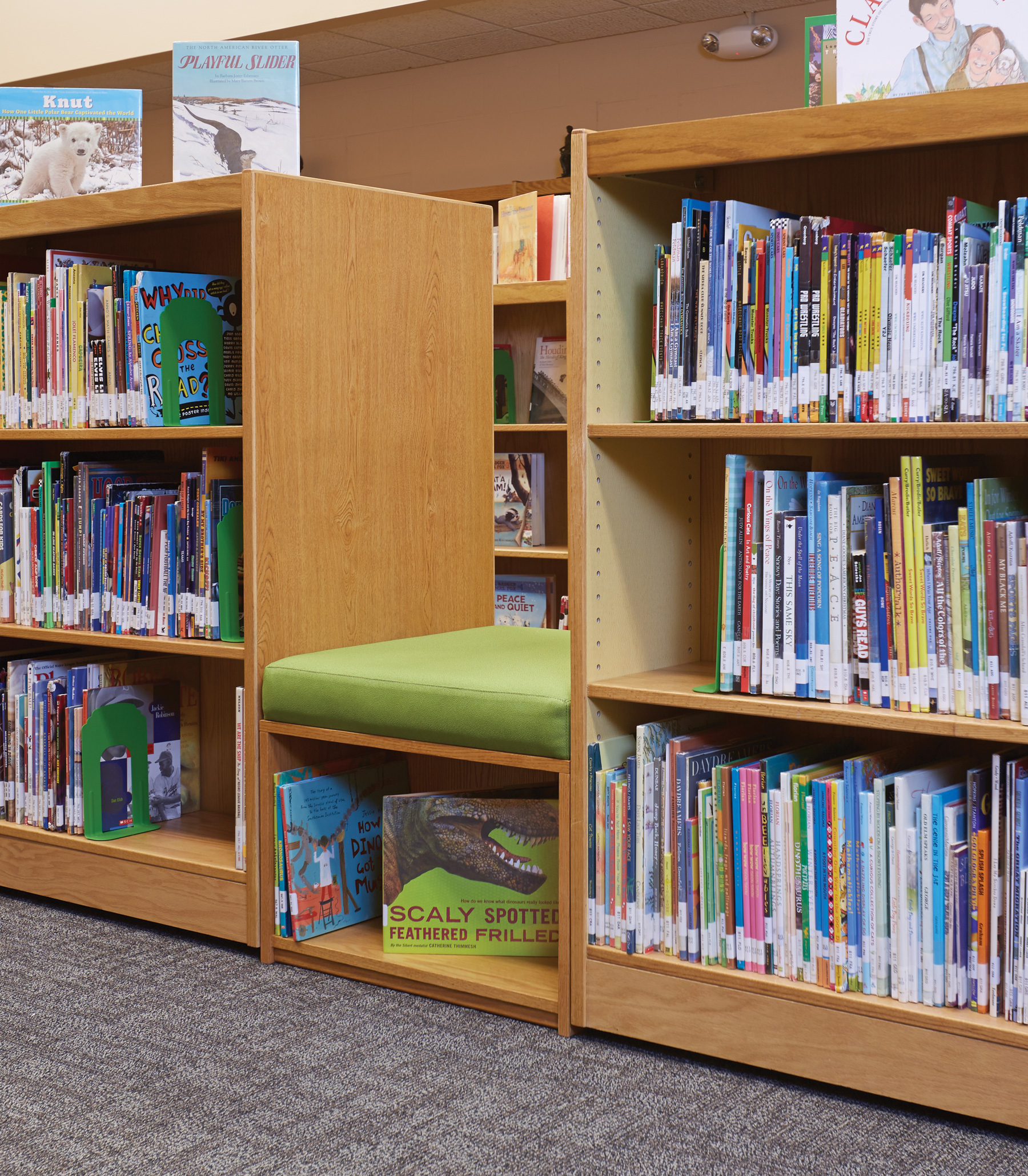 Librarians Enjoy Extra Book Display And Storage Below These ColorScape  Benches.