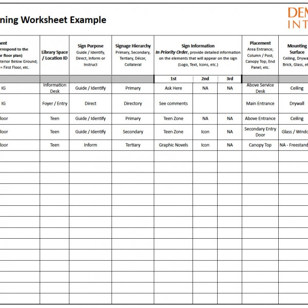 Figure 1: Signage Planning Worksheet  Example