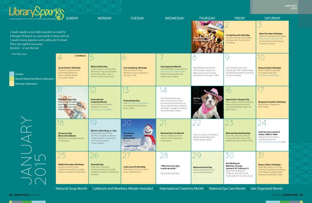 Children's Activity Calendar: January 2015