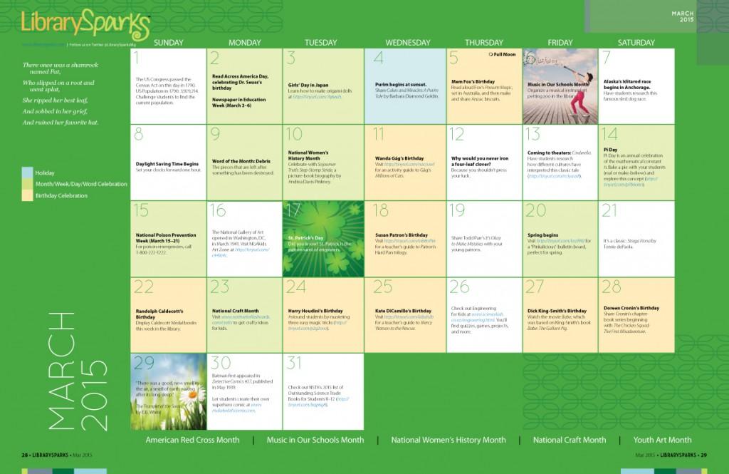 Children's Activity Calendar: March 2015