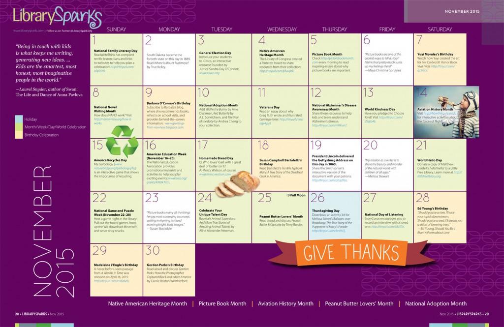 Children's Activity Calendar: November 2015