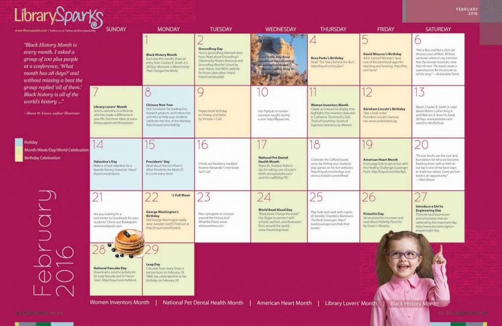 Children's Activity Calendar: February 2016